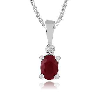 Classic Oval Ruby & Diamond Pendant Necklace in 9ct White Gold 181P0641109