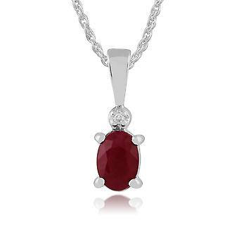 9ct vitguld 0,56 ct Ruby & Diamond enda sten hänge på kedja
