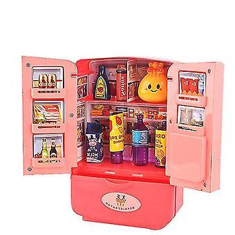 Rouge 9pcs nouveau réfrigérateur de simulation pour enfants simulation double porte mini réfrigérateur set dt5480