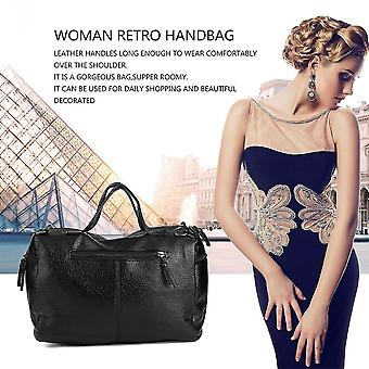 Woman New Retro Handbag Leather Single Shoulder Bag Washable Fabric Black