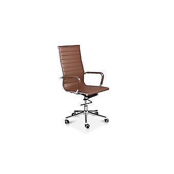 LIFA LIVING bureaustoel van buffelleer, Klassieke draaistoel van leer, Bureauwand van echt leer met zwenkwielen, max. laadvermogen: 150kg