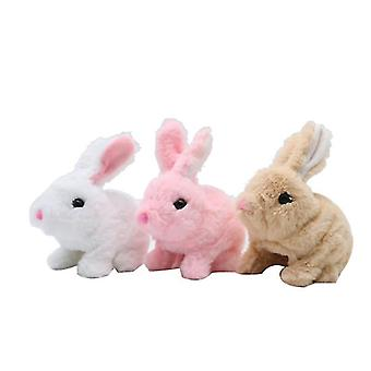 Electric plush simulation toy bunny that can jump(Brown)
