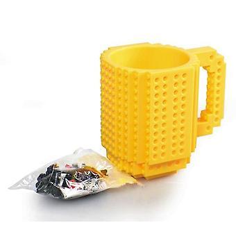 1Pc 350ml Creative Milk Mug Coffee Cup Creative Build On Brick Mug Cups (yellow)