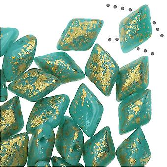Czech Glass GemDuo, 2-Hole Diamond Shaped Beads 8x5mm, 8 Grams, Gold Splash Turquoise Green