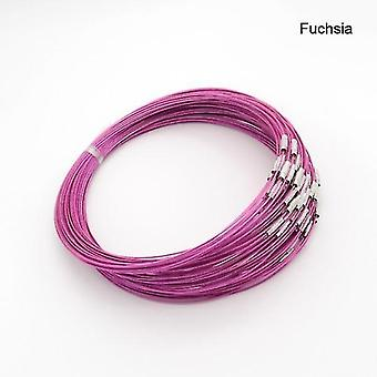 Mixed Color Steel Necklace, Woman, Man Wire Cable, Cord Rope Chain, Choker(Fuchsia)