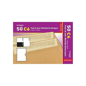 Impact C6 Self Seal Manilla Envelop (Pak van 50)