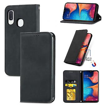 Case For Samsung Galaxy A20e/a10e Magnetic Closure Leather Wallet Cover Housse Etui Shockproof - Black