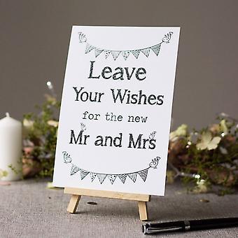 Wedding Card Box / Guest Book witte bord 'Laat uw wensen' ondertekenen en ezel