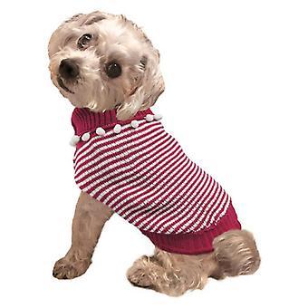 Fashion Pet Pom Pom Stripe Dog Sweater Raspberry - Small