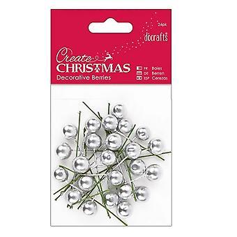 24 silver Holly bär för Julpyssel