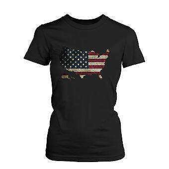 Kvindernes U.S. Flag USA kort grafisk sort T-Shirt