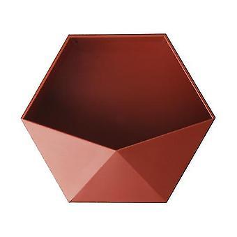 Étagères murales hexagonales géométriques sans poinçon de style nordique (rouge)