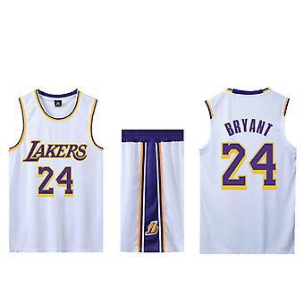 Kobe Bryant Basketball Trikot Nr.24/Lakers Trikot Set/weiß Auswärts(Kindergröße)