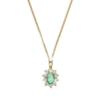 Eira Wen  Necklace With Emerald & Cubic Zirconia Pendant Set In 9ct Gold Chain Jewellery For Women Ladies Anniversary Birthday Mothers Day Gifts For H
