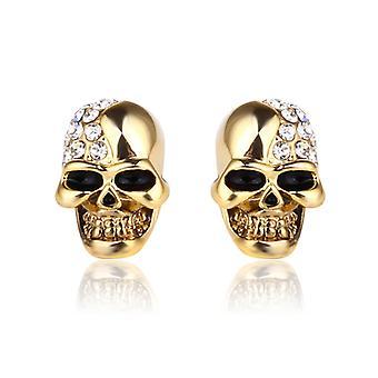 White Crystal Skull Stud Earrings For Women