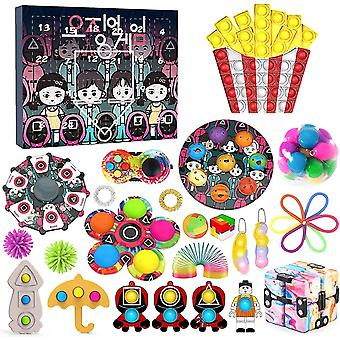 Squid Game Calendar Toy Bag 2021, With Poppet Pop-on-it Box Surprise Gift