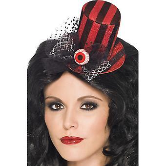 Mini cilindru cu dungi negru și roșu pe clip de păr cu un glob ocular