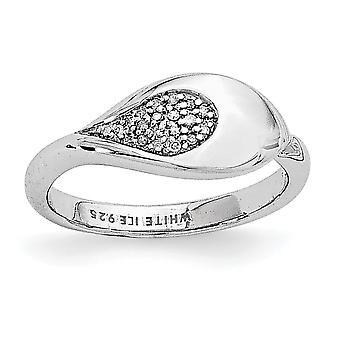 925 Sterling Silver Polished Gift Boxed Rhodium plated White Ice .07ct. Diamond Ring Jewelry Gifts for Women - Ring Size