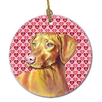 Carolines Treasures  LH9145CO1 Vizsla Valentine's Love and Hearts Ceramic Orname