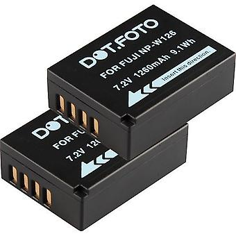 2 x Dot.Foto Fujifilm NP-W126 wymiana baterii - 7, 2V / 1260mAh