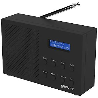 Groov e パリ ポータブル DAB/FM デジタル ラジオ - ブラック (モデル ナンバーGVDR03BK)