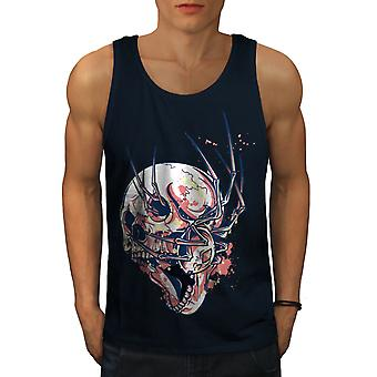 Horror Spider On Skull Men NavyTank Top | Wellcoda