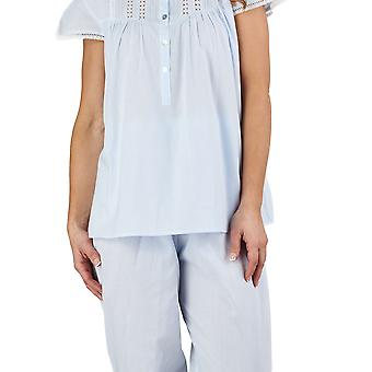 Slenderella PJ1272 vrouwen Lace en Pintucks Blue 100% katoenen pyjama afgetopt mouw pyjama's Set