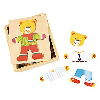 Bigjigs Toys Wooden Mr Bear Dress Up Jigsaw Puzzle Mix Matching Game