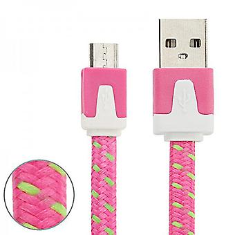 2m USB data and charging cable Pink for all Smartphone and Tablet micro USB