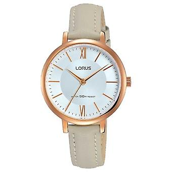 Lorus Womans Sunray Dial Soft Grey Leather Strap RG264LX7 Watch