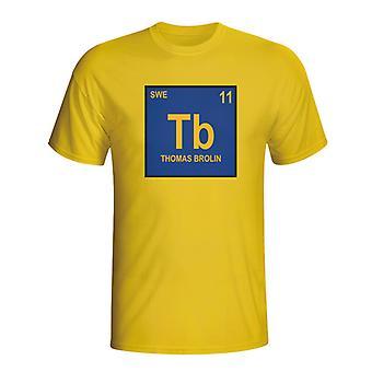Thomas Brolin Sweden Periodic Table T-shirt (yellow)