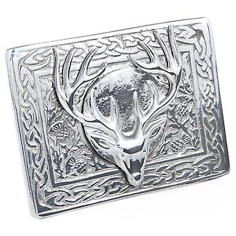Celtic Stag Antler Pewter Belt Buckle
