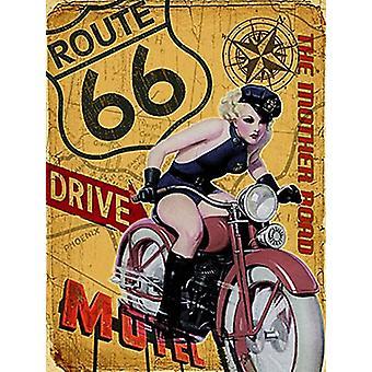 Ruta 66 camino de la madre niña en bici grande acero firmar 400 Mm X 300 Mm