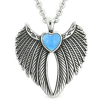 Angel Wings coeur magique Protection pouvoirs amulette chats simulé bleu Aqua Eye Pendentif