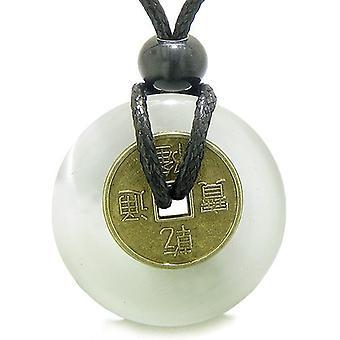 アンティーク コイン魔力お守り白いキャッツアイ水晶 30 mm ドーナツ ペンダント ネックレス