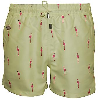Nikben Flamingo Swim Shorts, Lemon