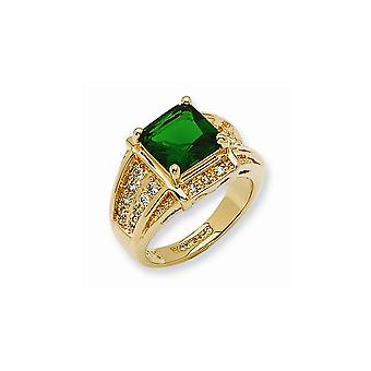 14k Gold Plated Open Back Crystal Green Princess cut Ring Jewelry Gifts for Women - Ring Size: 6 to 8