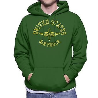 US Airforce Winged Propeller Yellow Text Men's Hooded Sweatshirt