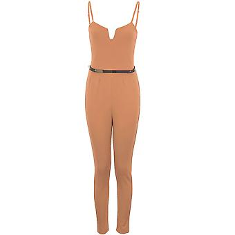 Ladies Square V Neck Sleeveless Strappy Gold Belted Crepe Smart Plain Jumpsuit