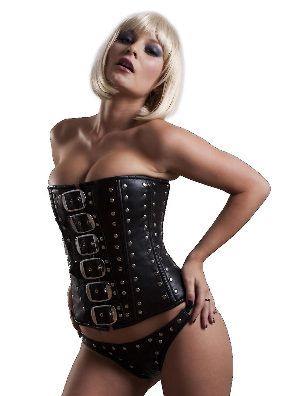 Honour Women's Studded Overbust Corset in Black Leather Sexy Fetish Fashion