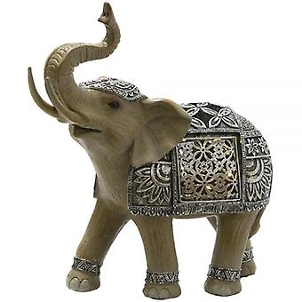 Large Indian Silver Elephant Ornament With Led Decoration 25Cm
