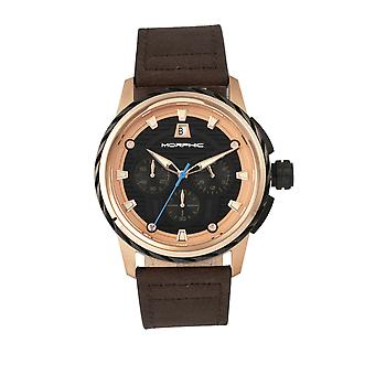 M61 morphique Series chronographe-bracelet en cuir montre w/Date - Rose Gold/Dark Brown