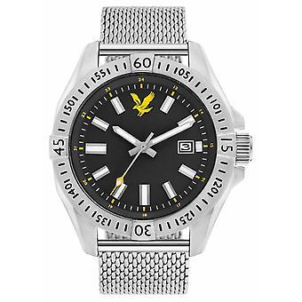 Lyle & Scott Mens táctico malla Pulsera esfera negra LS-6017-11 reloj de acero inoxidable