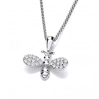 Cavendish French Silver and CZ Sparkle Bee Pendant with Silver Chain