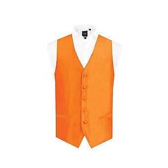 Dobell Mens Orange Weste passen regelmäßige Dupionseide 5 Button
