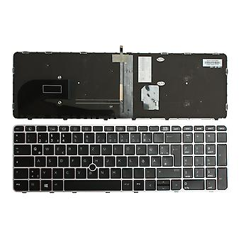 HP Zbook 15U G4 With Pointer Silver Frame Backlit Black Windows 8 German Layout Replacement Laptop Keyboard