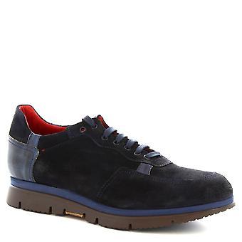 Leonardo Schuhe Man handgemachte Schnürer Schuhe in blau Veloursleder