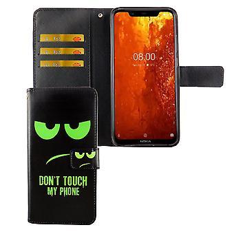 Nokia 8.1 / Nokia X7 Tasche Handy Hülle Schutz-Cover Flip-Case mit Kartenfach Don't touch my phone