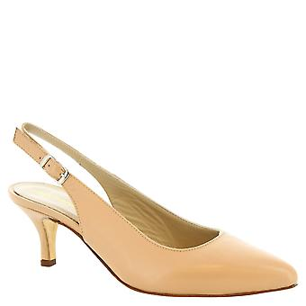 Leonardo Shoes Women's slingback shoes with heels in beige calf leather
