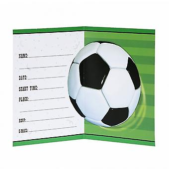 Unique Party Football Invitations Cards (Pack Of 8)